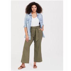 NWT Torrid Olive Stretch Linen Wide Leg Pants Sz24